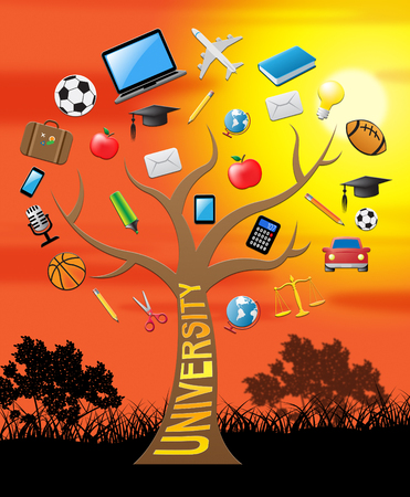 scholarship: University Tree With Icons Shows Study And Studying 3d Illustration Stock Photo