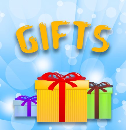 Gifts Word And Boxes Represents Christmas Present 3d Illustration