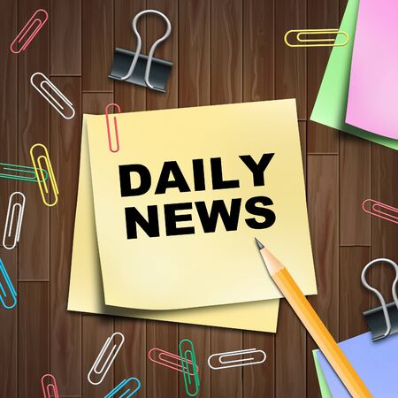 daily newspaper: Daily Newspaper Notepad Shows Regular News 3d Illustration