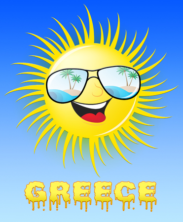 Greece Sun With Glasses Smiling Means Sunny 3d Illustration