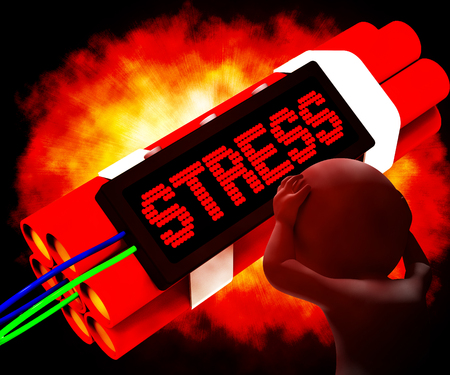 stressing: Stress On Dynamite Shows Pressure Of Work 3d Rendering Stock Photo