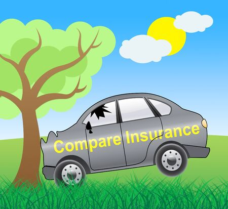 insure: Compare Insurance Crash Showing Car Policy 3d Illustration