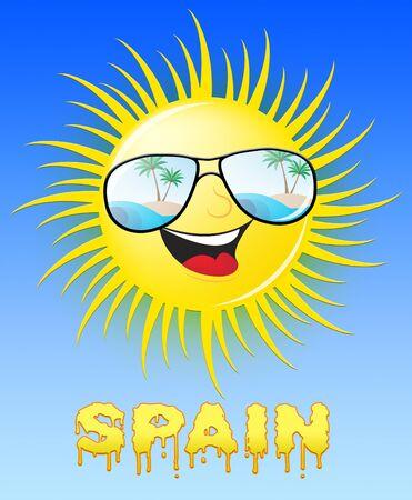 Spain Sun With Glasses Smiling Means Sunny 3d Illustration Reklamní fotografie