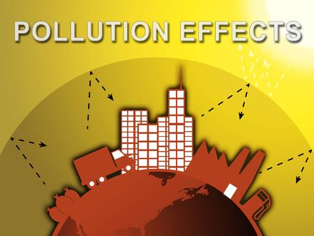 Pollution Effects Around City Means Environment Impact 3d Illustration Stock Photo