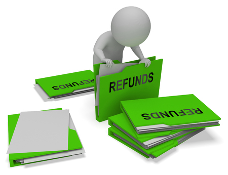 refunds: Refunds Character And Folders Means Money Back 3d Rendering