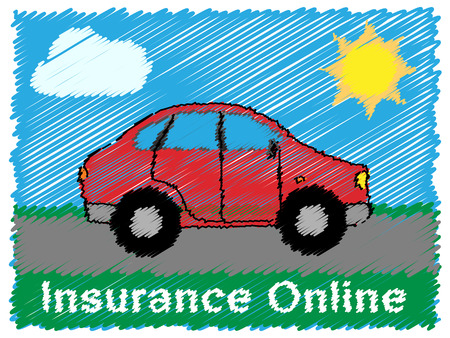 Insurance Online Road Sketch Means Car Policy 3d Illustration