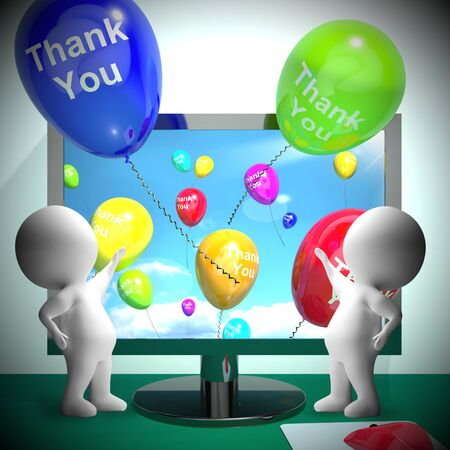 agradecimiento: Thank You Balloons From Computer As Online Thanks Messages 3d Rendering