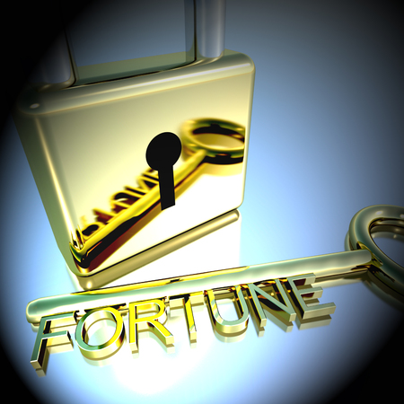 Padlock With Fortune Key Showing Luck Successes And Riches 3d Rendering