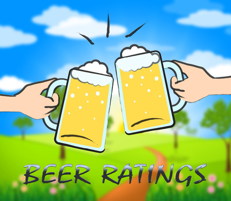 ratings: Beer Ratings Glasses Showing Ale Reviews And Rankings Stock Photo