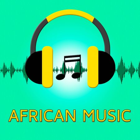 harmonies: African Music Headphones Sound Shows Africa Soundtracks 3d Illustration
