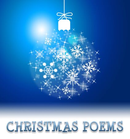 poems: Christmas Poems Ball Decoration Means Happy Festive Greeting Verse Stock Photo