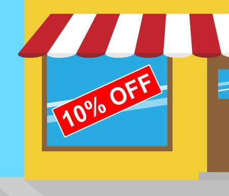 deduction: Ten Percent Off Sign In Shop Window Means Reductions 3d Illustration