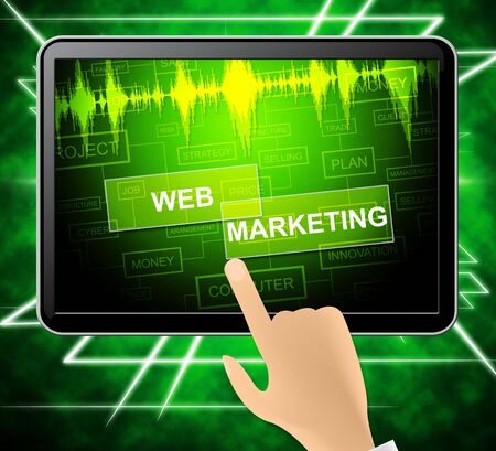 Web Marketing Tablet Showing Website Sem And Media 3d Illustration Stock Photo