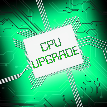 Cpu Upgrade Showing Microprocessor Update 3d Illustration