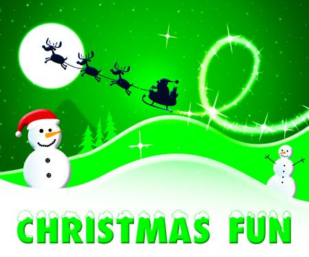 Christmas Fun Snowmen And Santa Shows Enjoy At Xmas 3d Illustration