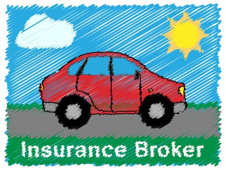 insured: Insurance Broker Road Sketch Means Car Policy 3d Illustration