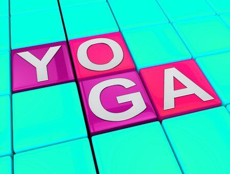 meditating: Yoga Blocks Meaning Healthy Meditating 3d Illustration