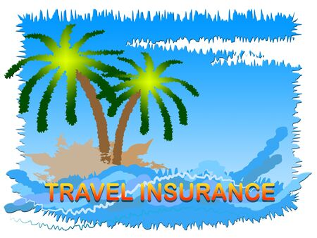 travelled: Travel Insurance Beach Scene Shows Holiday Or Vacation Cover Stock Photo