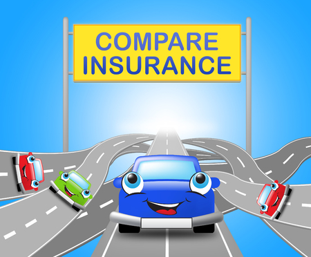 Compare Insurance Sign Over Motorways Shows Car Policy 3d Illustration Stock Photo