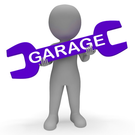 Garage Character with Spanner Shows Auto Repair 3d Rendering