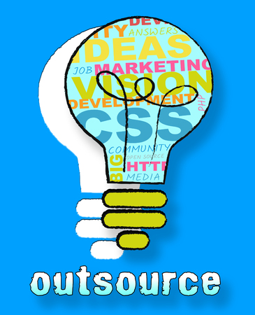 outsource: Outsource Lightbulb Words Shows Subcontracting Freelancers 3d Illustration