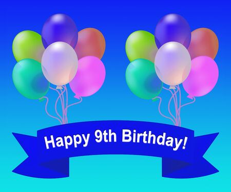 ninth: Happy Ninth Birthday Balloons Meaning 9th Party Celebration 3d Illustration