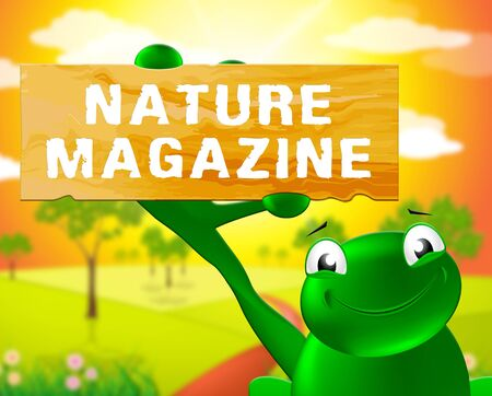 Frog With Nature Magazine Sign Shows Countryside Publication 3d Illustration
