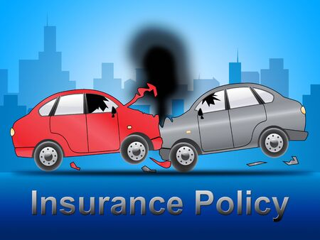 insured: Auto Insurance Policy Crash Shows Car Policies 3d Illustration