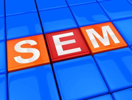 Sem Blocks Meaning Sales Promotion 3d Illustration