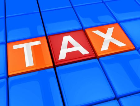 indicating: Taxes Blocks Indicating Taxation Duties 3d Illustration Stock Photo