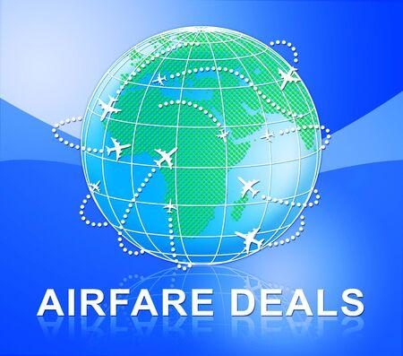Airfare Deals Globe Means Airplane Promotion 3d Illustration