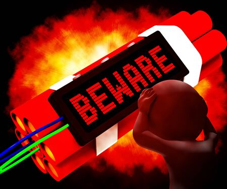 notifying: Beware Dynamite Sign Means Caution Or Warning 3d Rendering
