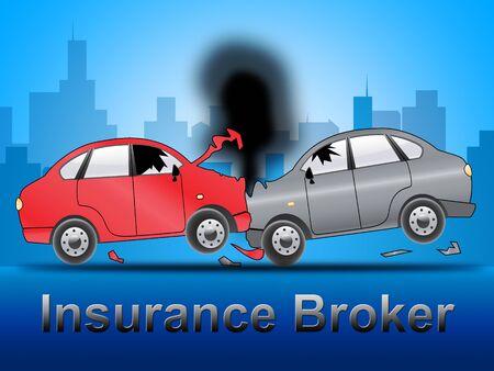 insure: Insurance Broker Crash Shows Car Policy 3d Illustration