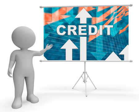 Credit Graph Character Indicating Finance And Loan Diagram 3d Illustration