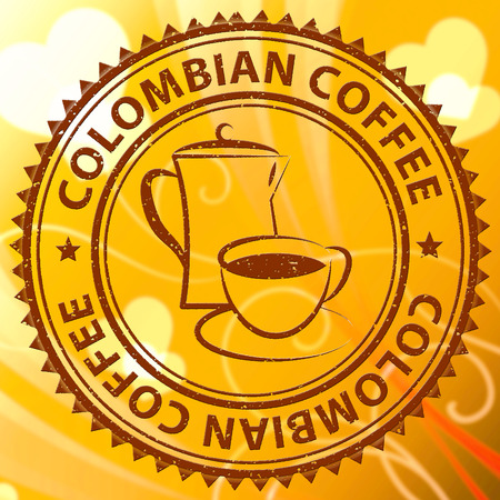 cafe colombiano: Colombian Coffee Stamp Meaning Colombia Brew Or Beverage