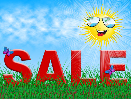 Sale And Smiling Sun Shows Summer Bargains 3d Illustration Stock Photo