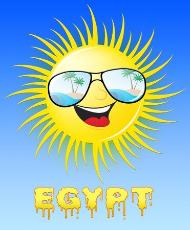 Egypt Sun With Glasses Smiling Means Sunny 3d Illustration Stock Photo