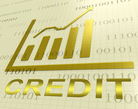 Credit Graph Increase Indicates Finance And Loan 3d Rendering