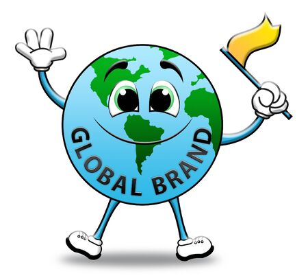 globally: Global Brand Globe Character Means Company Identity 3d Illustration Stock Photo