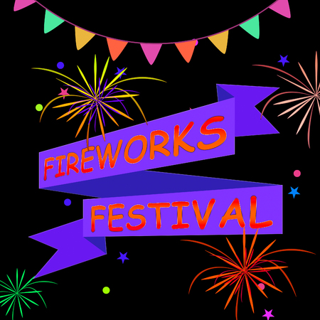 galas: Fireworks Festival Ribbons And Fireworks Shows Pyrotechnics Display 3d Illustration