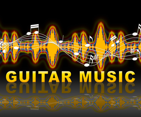 Guitar Music Soundwaves Showing Sound Track And Audio