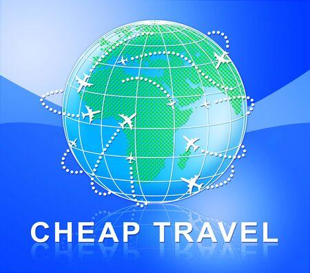 cheap: Cheap Travel Globe Represents Low Cost Flights 3d Illustration Stock Photo