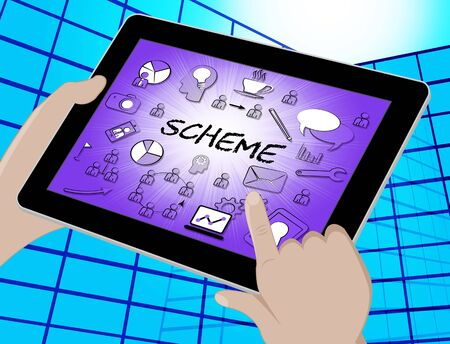 schemes: Scheme Icons Tablet Showing Tactic Schemes And Systems 3d Illustration