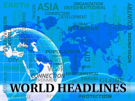 globally: World Headlines Words And Map Indicating Global Newsletter 3d Illustration