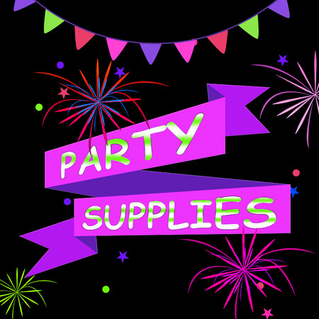 Party Supplies Ribbons And Fireworks Represents Celebration Shopping 3d Illustration