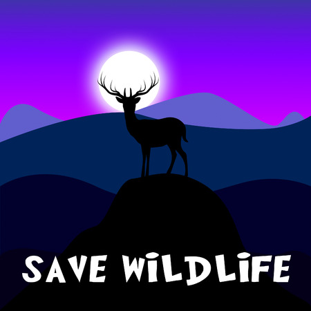 Save Wildlife Mountain Scene Shows Preserve Animals 3d Illustration