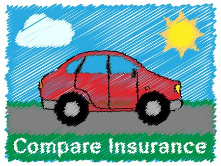 insured: Compare Insurance Road Sketch Means Car Policy 3d Illustration