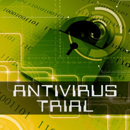 Antivirus Trial Data Padlock  Shows Anti Virus Evaluation 3d Rendering