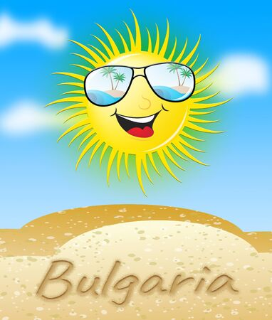 Bulgaria Sun With Glasses Smiling Meaning Sunny 3d Illustration Stock Photo