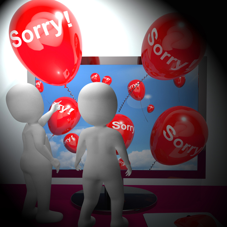 Sorry Balloons From Computer Show Online Apology 3d Rendering